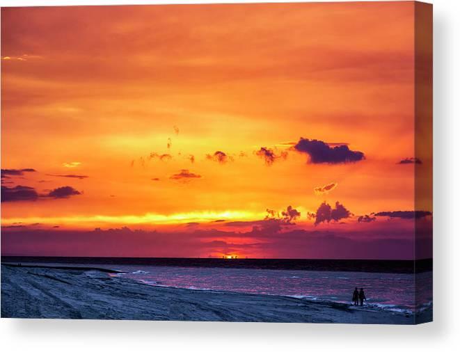 Romantic Sunset At The Cuban Beach; Cuban; Cuba; Sunset; Beach; Couple; Beach; Sand; Sea; Seaside; Shore; Clouds; Sun; Romance; Romantic; Colourful; Hope; Faith; Love; Happiness; Photography & Digital Art; Photography; Photo; Photo Art; Art; Digital Art; 2bhappy4ever; 2bhappy4ever.com; 2bhappy4evercom; Tobehappyforever; Canvas Print featuring the photograph Romantic Sunset at the Cuban Beach by Erron