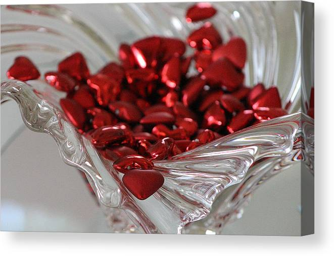 Heart Canvas Print featuring the photograph Ruby Red Hearts and Crystal by Colleen Cornelius