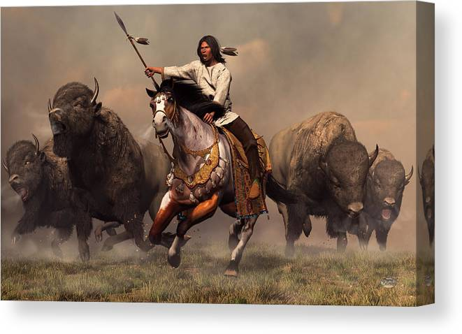 Western Canvas Print featuring the digital art Running With Buffalo by Daniel Eskridge