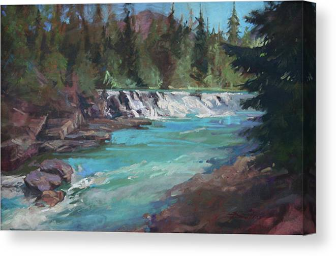 Glacier National Park Canvas Print featuring the painting Sacred Dancing Cascade by Betty Jean Billups