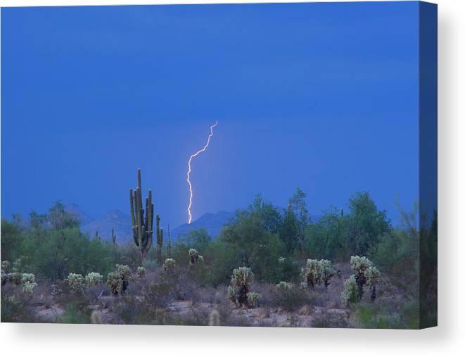 Lightning Canvas Print featuring the photograph Saguaro Desert Lightning Strike Fine Art by James BO Insogna