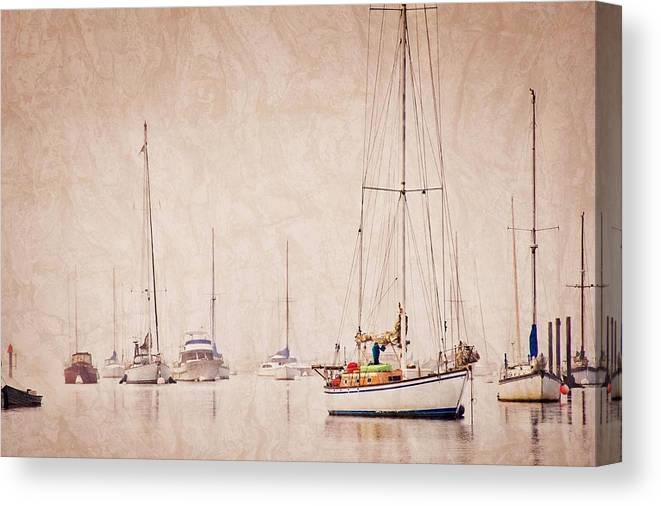 Sailboats Canvas Print featuring the photograph Sailboats in Morro Bay Fog by Zayne Diamond Photographic