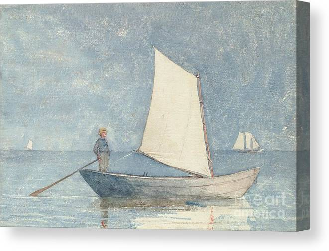 Boat Canvas Print featuring the painting Sailing a Dory by Winslow Homer