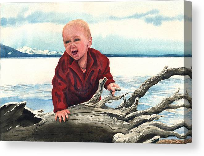 Child Canvas Print featuring the painting Sam and The Log by Sam Sidders