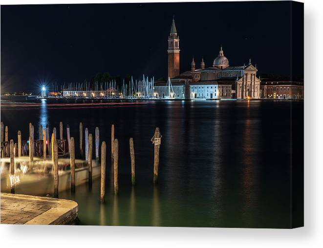 Venice Canvas Print featuring the photograph San Giorgio Maggiore. Night In Venice by Nicola Simeoni