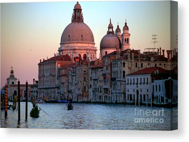 Venice Canvas Print featuring the photograph Santa Maria Della Salute On Grand Canal In Venice In Evening Light by Michael Henderson