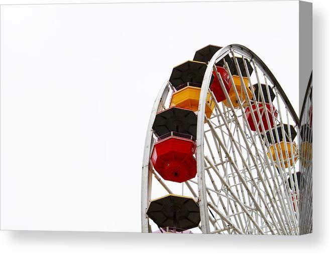 Ferris Wheel Canvas Print featuring the photograph Santa Monica Pier Ferris Wheel- By Linda Woods by Linda Woods