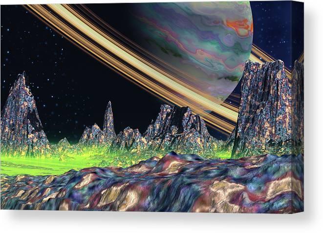 David Jackson Saturn View Alien Landscape Planets Scifi Canvas Print featuring the digital art Saturn View by David Jackson