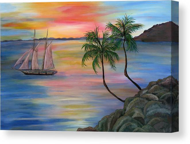 Sunset Canvas Print featuring the painting Serenity Bay by Mikki Alhart