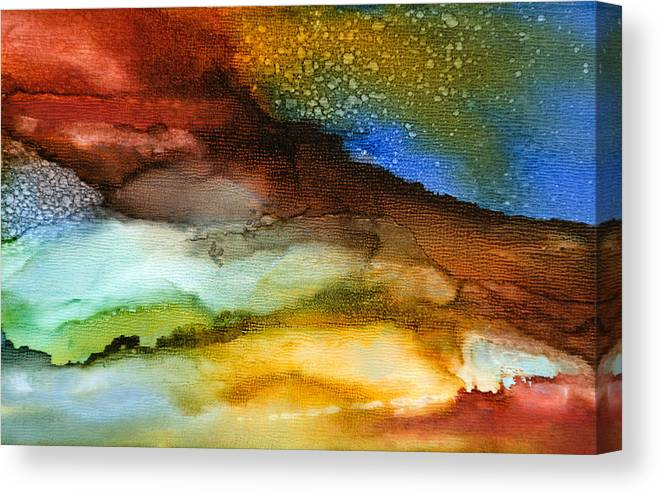 Abstract Canvas Print featuring the painting Silent Conversations - A - by Sandy Sandy