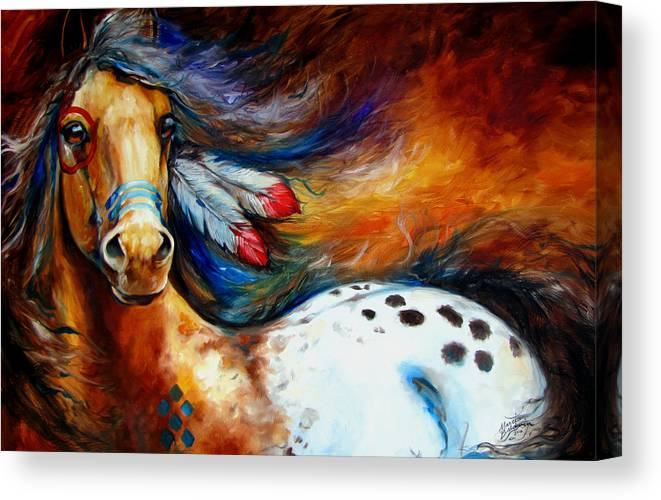 Horse Canvas Print featuring the painting Spirit Indian Warrior Pony by Marcia Baldwin