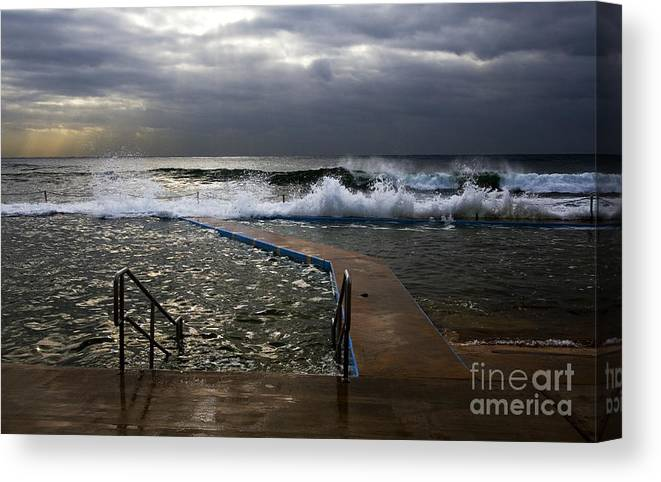 Storm Clouds Collaroy Beach Australia Canvas Print featuring the photograph Stormy morning at Collaroy by Sheila Smart Fine Art Photography