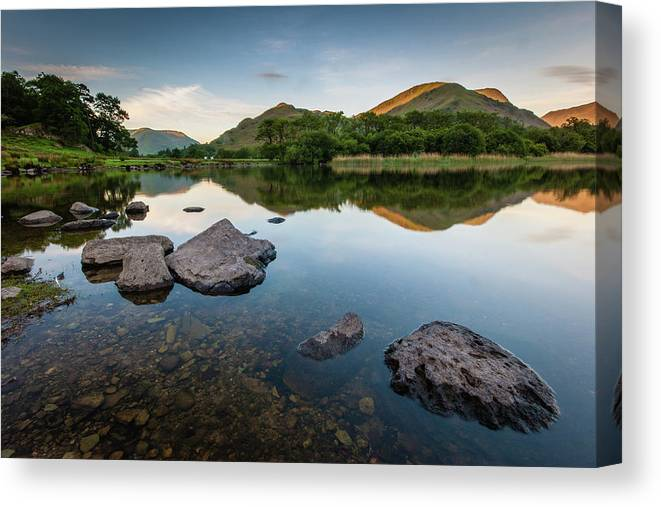 Lake District Canvas Print featuring the photograph Sunrise at Ullswater, Lake District, North West England by Anthony Lawlor