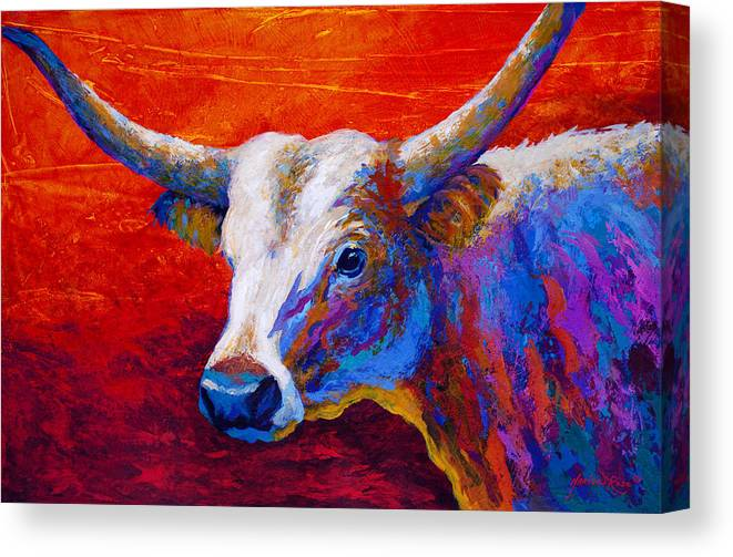 Longhorn Canvas Print featuring the painting Sunset Ablaze by Marion Rose
