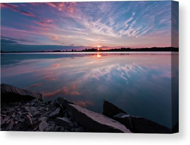 Sunrise Canvas Print featuring the photograph Sunset at Anglezarke Reservoir #1, Rivington, Lancashire, North West England by Anthony Lawlor