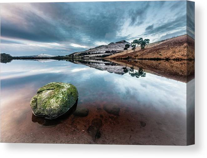 Sunset Canvas Print featuring the photograph Sunset at Dovestone Reservoir, Greater Manchester, North West England by Anthony Lawlor