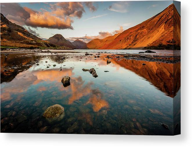 Sunrise Canvas Print featuring the photograph Sunset at Wast Water #2, Wasdale, Lake District, England by Anthony Lawlor