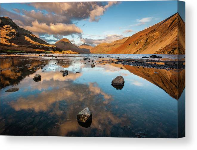 Sunrise Canvas Print featuring the photograph Sunset at Wast Water #3, Wasdale, Lake District, England by Anthony Lawlor