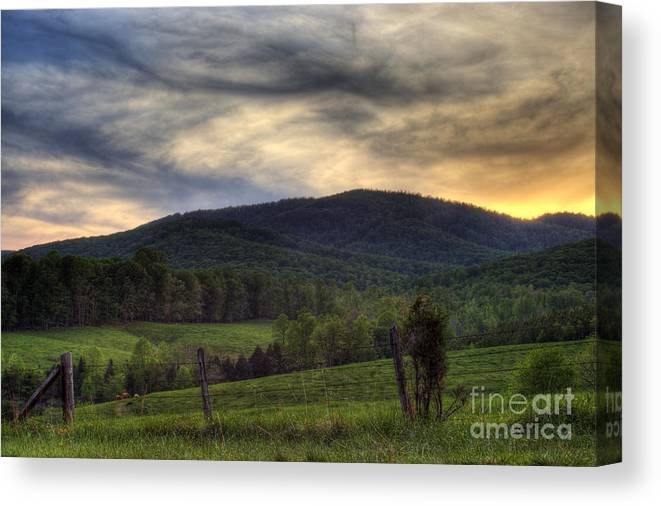 Landscape Canvas Print featuring the photograph Sunset On Appleberry Mountain 2 by Pete Hellmann