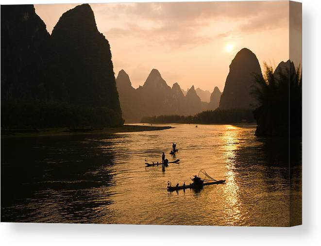 Asia Canvas Print featuring the photograph Sunset on the Li River by Michele Burgess