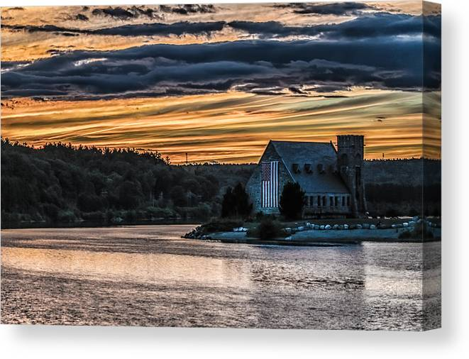 Landscape Canvas Print featuring the photograph Sunset on The Old Stone Church by Bob Bernier