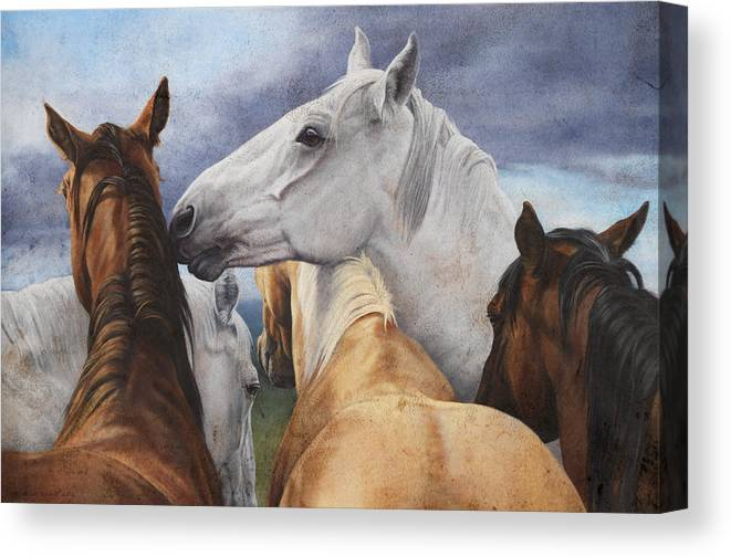 Michelle Grant Canvas Print featuring the painting Support Group by JQ Licensing