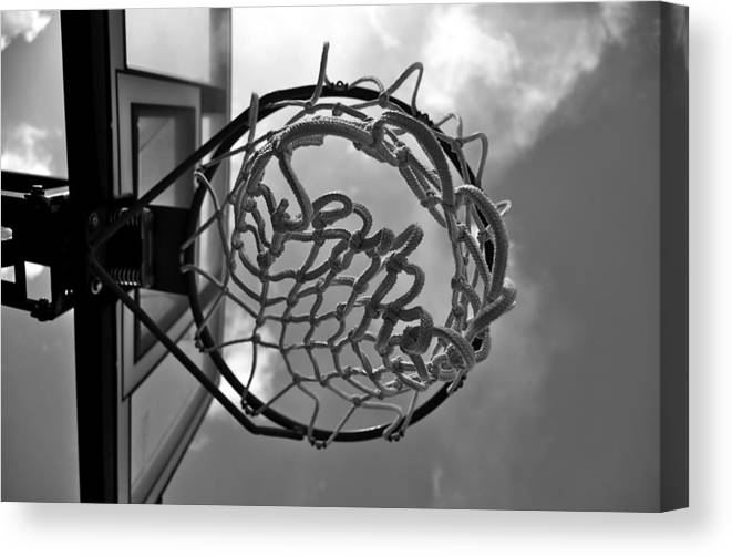 Swish Basketball Goal Net Black White Canvas Print featuring the photograph Swish by Kevin Mitts