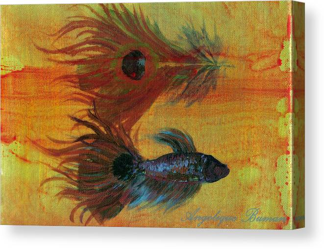 Fish Canvas Print featuring the painting Tail Study by Angelique Bowman