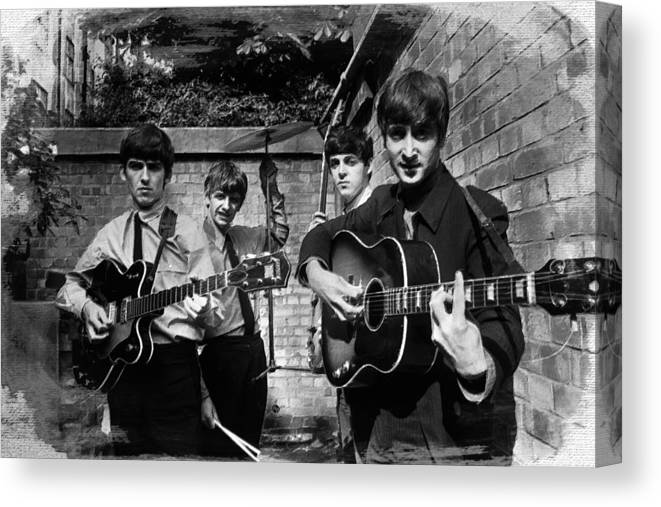 The Beatles Canvas Print featuring the painting The Beatles In London 1963 Black And White Painting by Tony Rubino