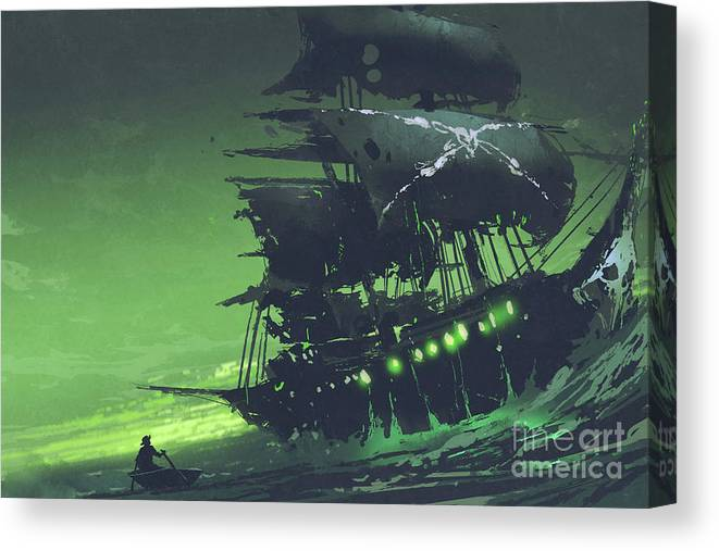 Illustration Canvas Print featuring the painting The Flying Dutchman by Tithi Luadthong