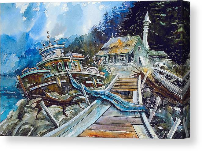 Boat Canvas Print featuring the painting The Last Bastion..on the Beach by Ron Morrison