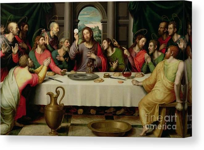 The Last Supper By Vicente Juan Macip Canvas Print featuring the painting The Last Supper by Vicente Juan Macip