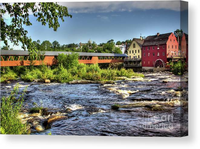 Covered Bridge In Littleton Nh Canvas Print featuring the photograph The River Walk Bridge by Diana Nault