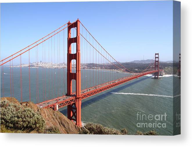 Wingsdomain Canvas Print featuring the photograph The San Francisco Golden Gate Bridge 7D14507 by Wingsdomain Art and Photography