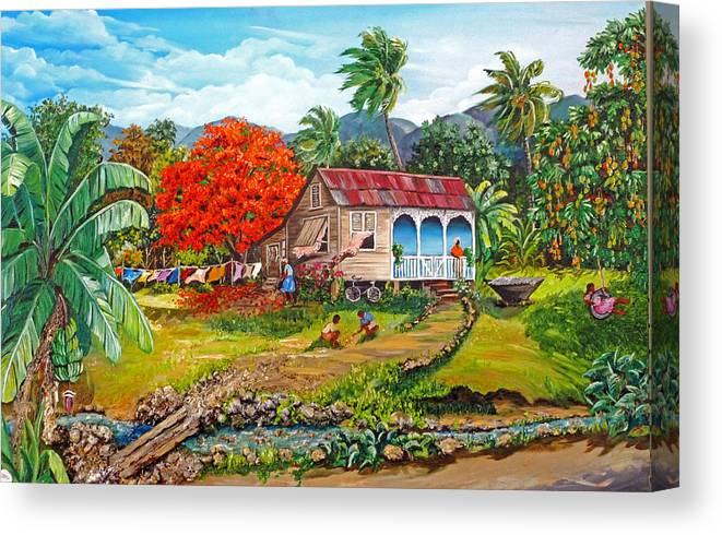 Tropical Scene Caribbean Scene Canvas Print featuring the painting The Sweet Life by Karin Dawn Kelshall- Best