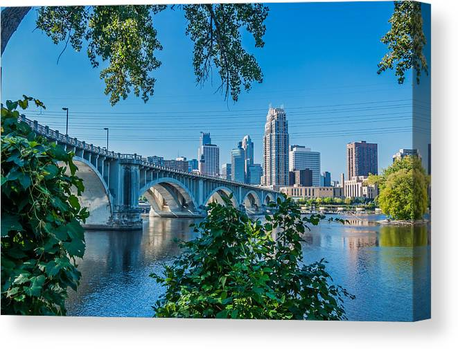 Third Avenue Bridge; Bridge; Mississippi River; St. Anthony Riverplace; Minneapolis Canvas Print featuring the photograph Third Avenue Bridge Over Mississippi River by Lonnie Paulson