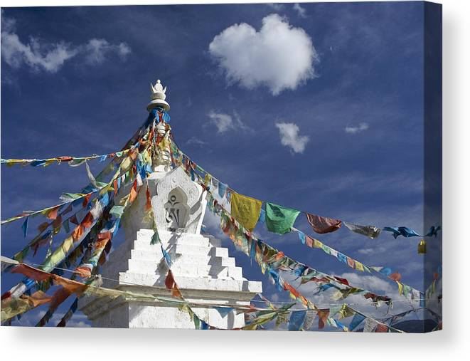 Asia Canvas Print featuring the photograph Tibetan Stupa with Prayer Flags by Michele Burgess