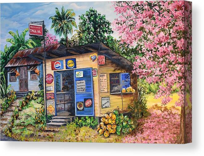 Trinidad And Tobago Shop Canvas Print featuring the painting Trinidad Country Parlour by Karin Dawn Kelshall- Best