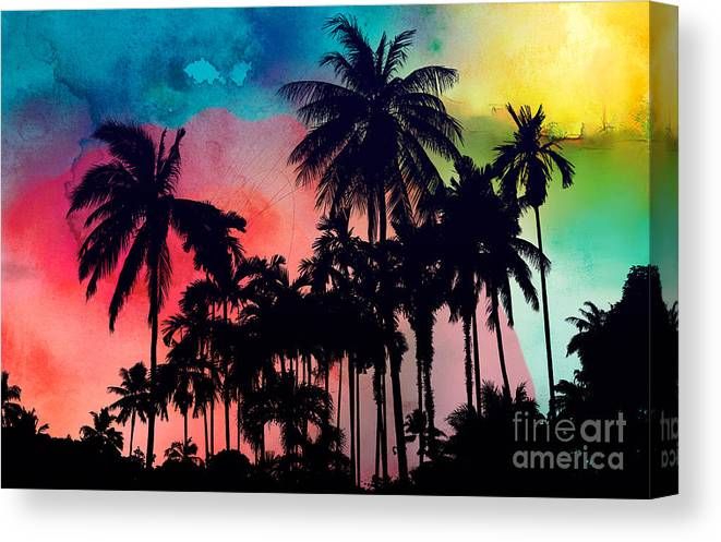 Canvas Print featuring the painting Tropical Colors by Mark Ashkenazi