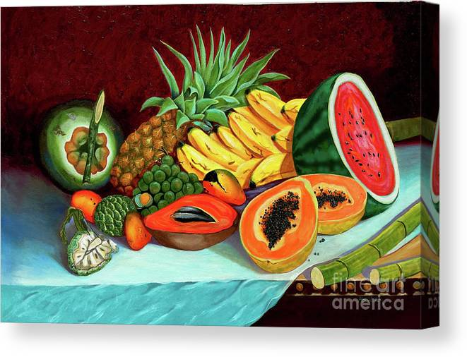 Coconut Canvas Print featuring the painting Tropical Fruits by Jose Manuel Abraham