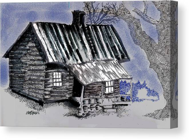 Cabin Canvas Print featuring the drawing Under a Tin Roof by Seth Weaver