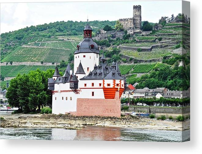 Rhine River Canvas Print featuring the photograph Vertical Vineyards and Buildings on the Rhine by Kirsten Giving