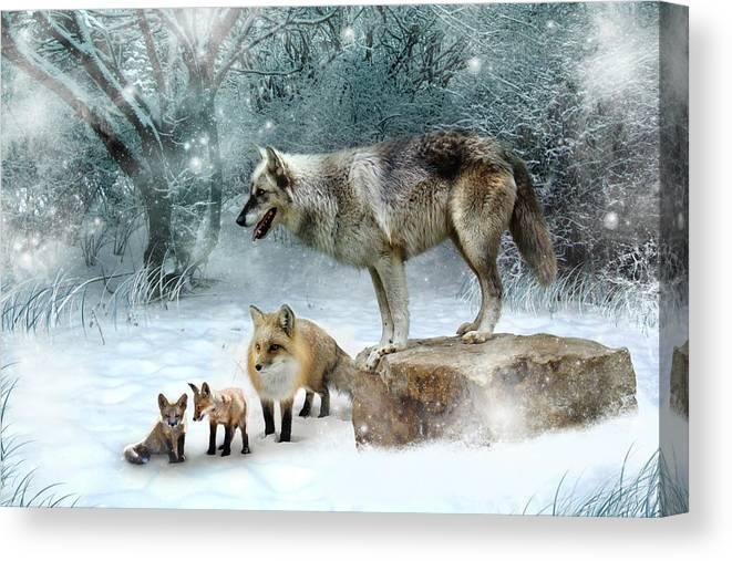 Wolf Canvas Print featuring the digital art Vladimir Vanessa and the Vixens by Julie L Hoddinott