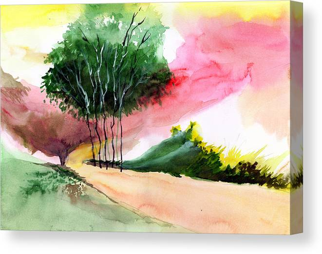 Watercolor Canvas Print featuring the painting Walk Away by Anil Nene