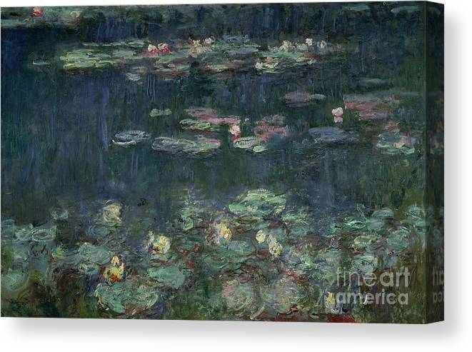 Monet Canvas Print featuring the painting Waterlilies Green Reflections by Claude Monet