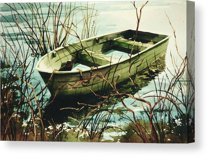 Rowboat In Water Canvas Print featuring the painting Wet 'n Waiting by Art Scholz
