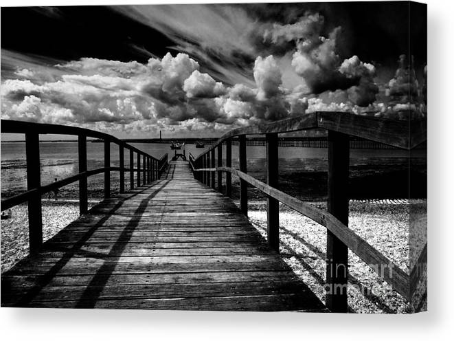 Southend On Sea Wharf Clouds Beach Sand Canvas Print featuring the photograph Wharf at Southend on Sea by Sheila Smart Fine Art Photography