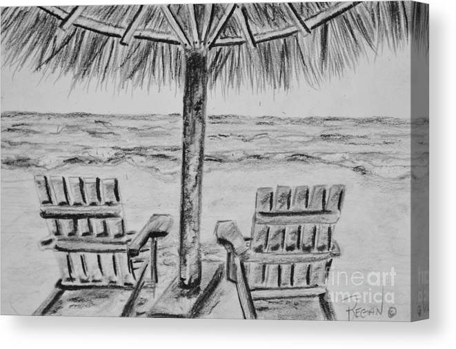 Ocean Adirondack Chairs Canvas Print featuring the drawing Where I Want to Be by Regan J Smith