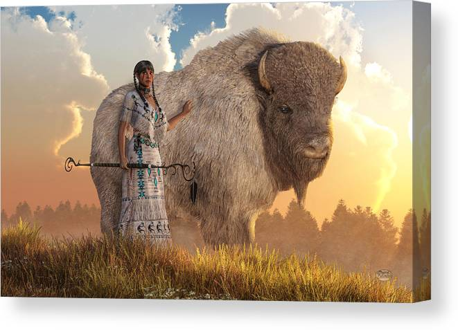 White Buffalo Calf Woman Canvas Print featuring the digital art White Buffalo Calf Woman by Daniel Eskridge