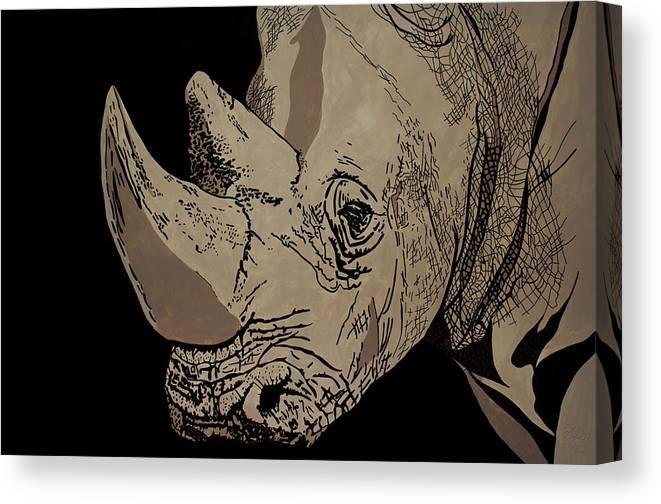 Rhino Canvas Print featuring the painting White Rhino by Irene Jonker